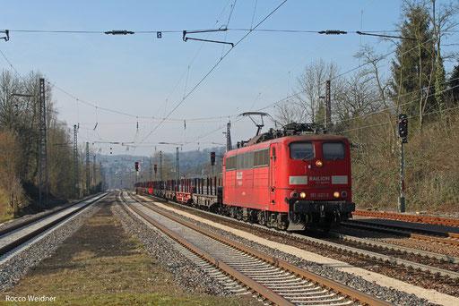 151 021 mit GM 61872 Völklingen - Neunkirchen(Saar) Hbf, Dudweiler 05.03.2013