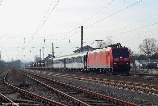 185 026 mit M 62802 (Metz/F) Neunkirchen(Saar) - Röderau (Sdl. Militär), Bexbach 05.03.2013