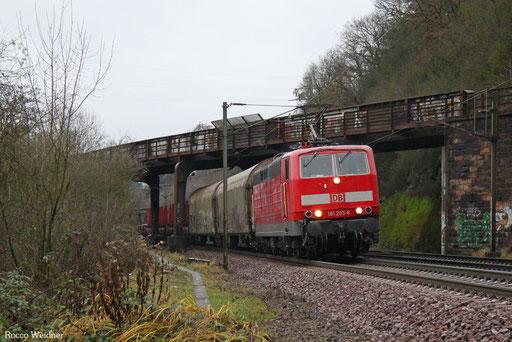 181 205 mit EZ 68265 Völklingen Walzwerk - Saarbrücken Rbf Nord, Völklingen Heidstock 21.12.2017