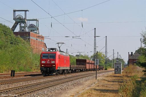145 033 mit GM 62636 Einsiedlerhof - Oberhausen West Orm (Sdl. leere Werksgüterwagen), Luisenthal(Saar) 10.09.2016