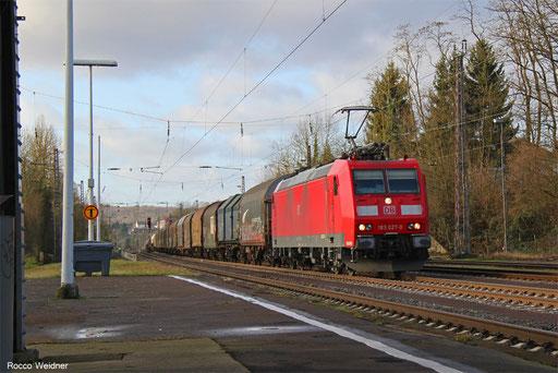 185 027 mit EZ 44249 Woippy/F - Mannheim Rbf Gr.M, Dudweiler 14.12.2017