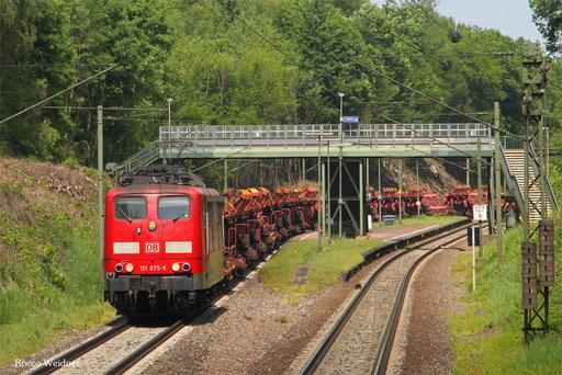 151 075 mit GM 62562 Mülheim-Styrum - Dillingen Hochofen Hütte (Sdl.), Bildstock 30.05.2017