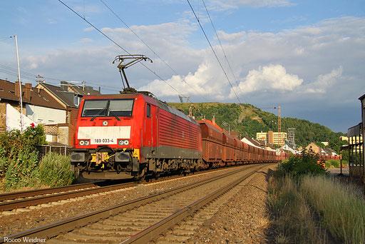 189 033 mit GM 62633 Ensdorf(Saar) - Dillingen(Saar) (Sdl. leere AK Fal), Saarlouis 16.07.2016