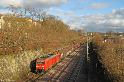 185 017 mit GM 49200 (Krakow Nowa Huta/PL) Horka Gbf - Ehrang Nord (Revigny/F) (Sdl. Flachgewalzte Erzeugnisse), Saarbrücken 03.02.2016
