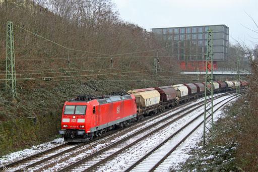 185 023 mit GC 44989 Wackerwerk - Forbach/F (Saint-Jean-de-Maurienne) (Sdl. Koks), Saarbrücken 22.01.2016