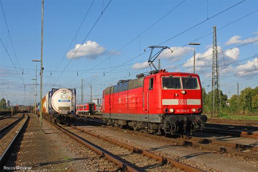 181 204 als T 67114 Mannheim Rbf Gr.M - Saarbrücken Hbf (Sdl.), Ludwigshafen/Rhein Gbf 10.09.2013
