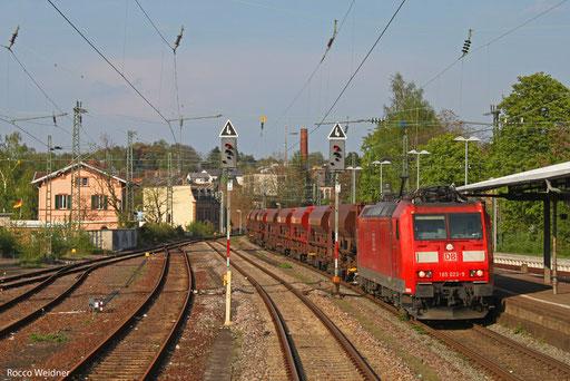 185 023 mit XP 63028 Hagenbach III - Ehrang Nord, St.Ingbert 04.05.2013