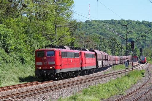 DT 151 129 + 151 126 mit GM 62561 Gau Algesheim - Dillingen Zentralkokerei  (Sdl. Kohle in WP-Fal), Saarbrücken 18.05.2017