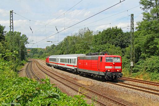 181 213 mit PbZ 77944 Saarbrücken Hbf - Frankfurt-Griesheim (Sdl. Überführung Schadwagen, Bremslok 181 205), 08.07.2016