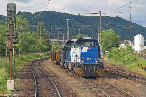 CFL Cargo  1587 + 1584 mit DGS 47686 Ehrang Nord - Luxemburg, 29. 05.2016