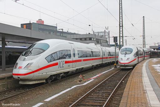 """406 083 """"Limburg an der Lahn"""" und  406 051 """"Amsterdam"""" NS - Hispeed,  Saarbrücken Hbf  12.02.2013"""