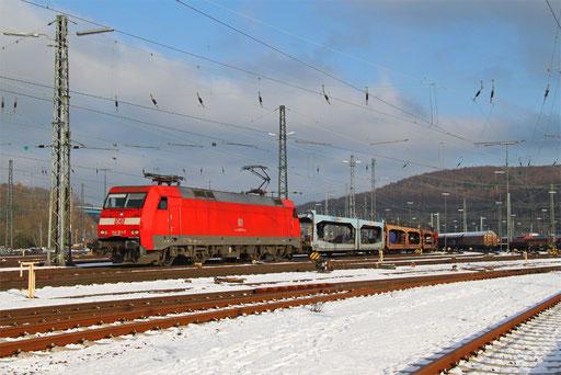 152 071 mit EK 55870 Saarbrücken Rbf Nord - Dillingen Ford (Sdl. leere Laes), 02.12.2017