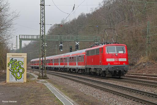 111 042 mit RC-D 12245 Mannheim Hbf - Völklingen (Sdl.), Luisenthal(Saar) 31.03.2018