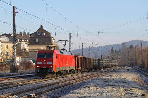 152 083 mit GB 62643 Schwarzkollm - Ehrang Nord (Sdl. leere P-Wagen), Dudweiler 28.12.2016
