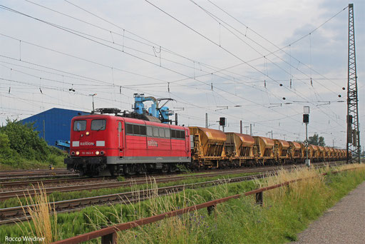 151 063 mit GB 62548 Einsiedlerhof - Friedberg (Hess) (Sdl. Schotter),  Ludwigshafen-Rheingönheim 28.06.2013