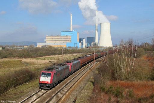 DT 185 602 + 185 599 mit DGS 69057 Moers Gbf - Neunkirchen(Saar) (Sdl.), Ensdorf 09.03.2016