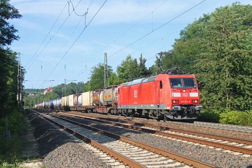 185 033 mit KT 98842 Forbach/F - Ludwigshafen/Rh BASF Ubf (Sdl. KV ex 42251), Dudweiler 14.08.2017
