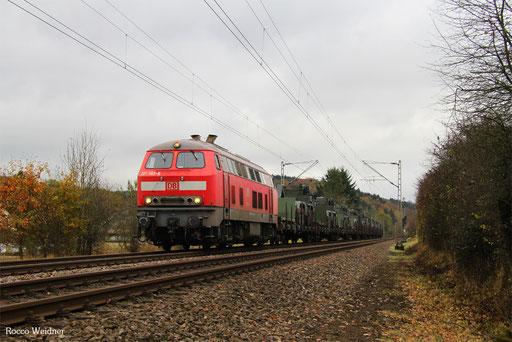 218 003 mit M 62676 Neunkirchen(Saar) Hbf - Baumholder (Sdl.), Walhausen 11.11.2016