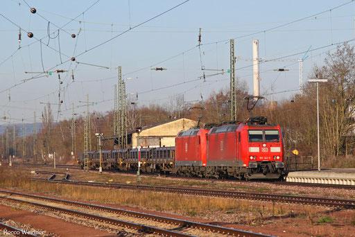 DT 185 143 + 185 018 mit EZ 45661 Bettembourg/L - Gremberg Bs (Mosel-Umleiter), Bous(Saar) 29.12.2016