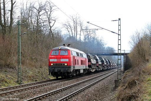 218 002 mit M 62354 Burg - Baumholder (Sdl. Militär), St.Wendel am 09.03.2013