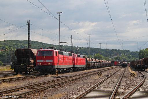 DT 181 213 + 181 205 mit GB 62384 Neunkirchen(Saar) Hbf - Landsweiler-Reden (Sdl. Schotter Fc/Fac), 14.07.2017