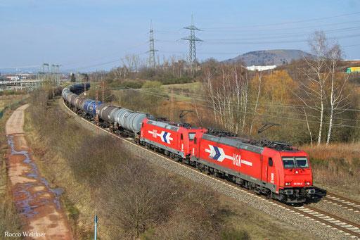 DT 185 584 + 185 631 mit DGS 52571 Ehrang Nord - Ludwigshafen-Rheingönheim, Ensdorf 14.03.2016