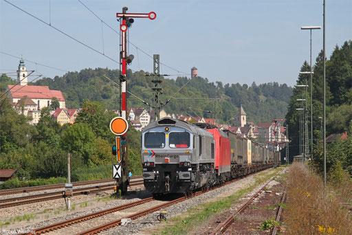 Rhein Cargo 266 062 und DB Cargo 185 346 mit KT 47093 Kornwestheim Rbf NW - Schaffhausen PB (Gallarate)