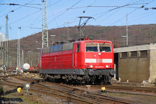 181 205 als T 77187 Saarbrücken Rbf Ost - Brebach, 06.01.2017