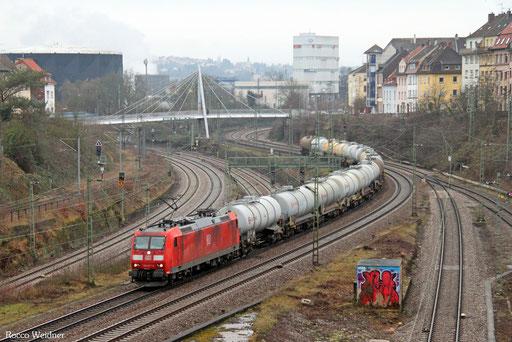 185 017 mit GC 62405 Millingen Gbf - Ludwigshafen/Rhein BASF Gbf (Sdl. leere Kesselwagen), Saarbrücken 31.01.2017