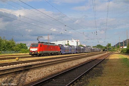 189 033 mit GA 62411 Dillingen Ford - Dillingen(Saar) (Sdl. SAR Pkw, Drehfahrt), Saarlouis 15.07.2016