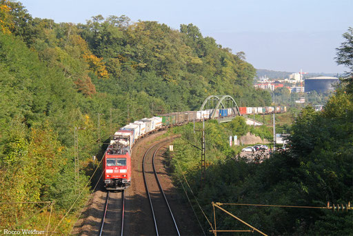 185 029 mit KT 46394 Köln Eifeltor Bez III - Forbach/F (Gallarate/I) (Sdl. KV, Hupac-verkehr, Rastatt Umleiter), Saarbrücken 26.09.2017