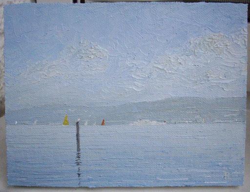 Ruhiger Sommertag (Öl auf Leinwand, 12 x 16 cm)