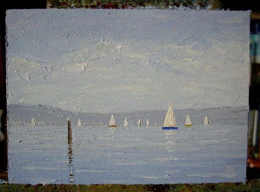 Sommertag am Bodensee Öl auf Leinwand, 10 x 14 cm)