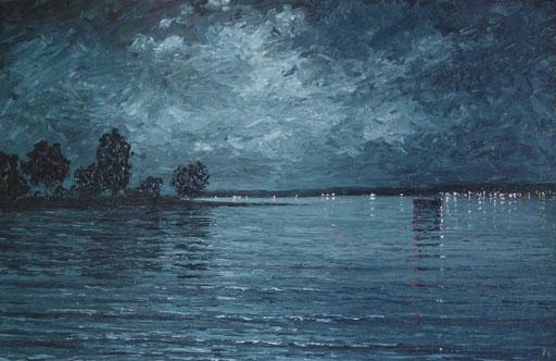 Bedeckte Mondnacht (Öl auf Leinwand, 24 x 37 cm)
