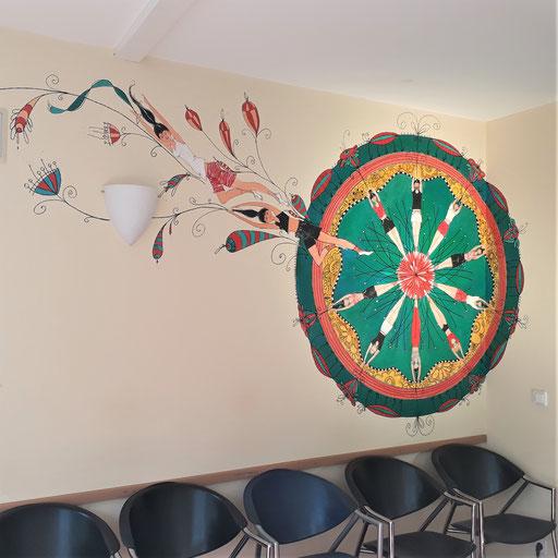 Offenes Mandala. Schablone  2 Meter Durchmesser , Acrylmalerei. Die Figuren sind in Bewegung aus dem Kreis fließend