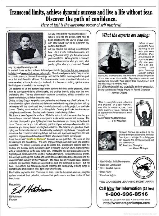 """El anuncio de los cursos a distancia de  Dragón Kenpo de Ed Hutchinson, en la prestigiosa revista """"Black Belt"""""""