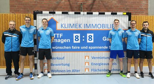 Das Unentschieden zum Rückrundenstart erzielten v.l. Guido Lenz, Tobias Dörr, Daniel Jacquemien, Peer Stobbe, Michael Kleinschmager und Kevin Müller