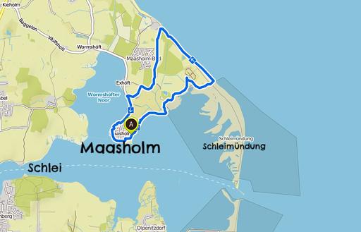 Bild: Wanderkarte Maasholm an der Schleimündung in Schleswig-Holstein
