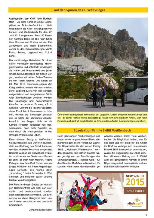 Weißnbocha Dörfblattl 2. Seite 01/2015