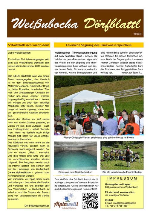 Weißnbocha Dörfblattl 1. Seite 01/2015