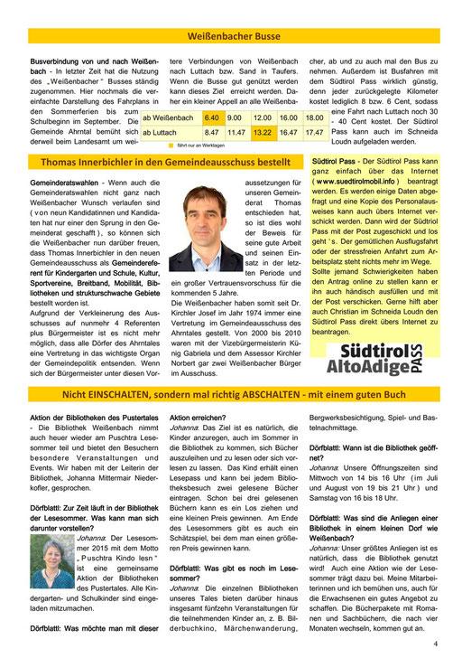 Weißnbocha Dörfblattl 4. Seite 01/2015