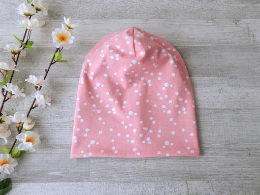 Wendebeanie Dots rosa / weiß