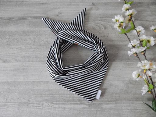 Knotentuch Wendeseite Streifen schwarz-weiß
