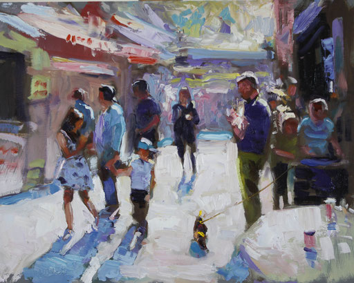 Street Scape.  Oil on panel