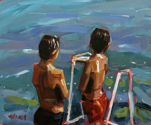 Dubrovnic Bathers acrylic on panel
