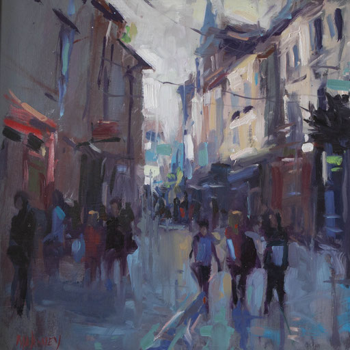 Main Street Wexford . Oil on panel