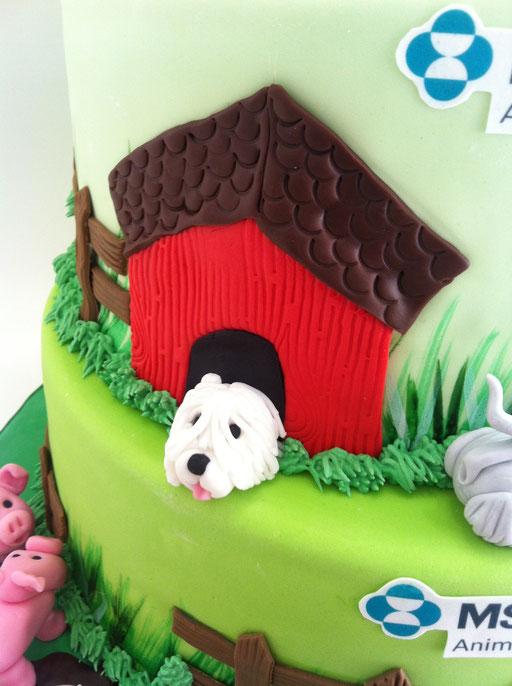 Detalle de la tarta para la empresa msd animal health diseño de Dulce Dorotea Valencia