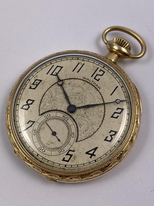 ANTIKE WALTHAM TASCHENUHR VON 1921 IN 585 GOLD GRADE 220