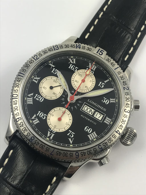LONGINES LINDBERGH SPIRIT CHRONOGRAPH ANGLE HORAIRE REF.: L2.618.4 FULL SET