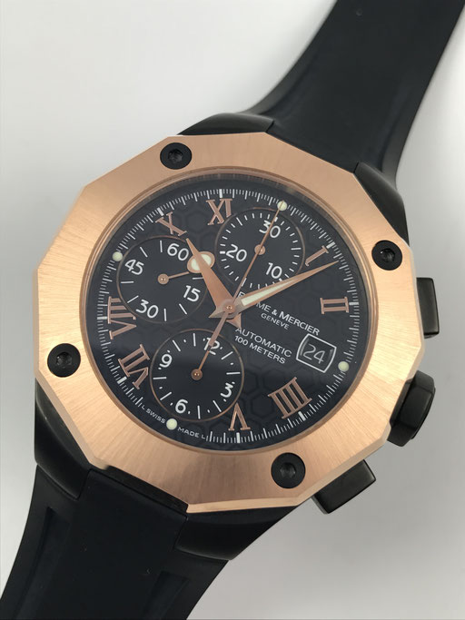 BAUME & MERCIER RIVIERA XXL 750 ROSE GOLD/PVD REF. MOA 08712 8712 CHRONOGRAPH